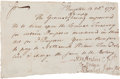"Autographs:Statesmen, Stephen Hopkins Document Signed. One page, 7.5"" x 4.5"", Kingston,October 13, 1770. Docketed on verso. ..."