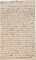 "Autographs:Statesmen, Lewis Morris Autograph Letter Signed. Two pages, approximately 13""x8"", Newport, June 16, 1795. This lengthy personal letter..."