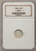Seated Half Dimes: , 1860 H10C MS63 NGC. NGC Census: (67/304). PCGS Population (86/247).Mintage: 799,000. Numismedia Wsl. Price for problem fre...