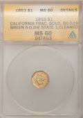 California Fractional Gold, 1853 $1 Liberty Octagonal 1 Dollar, BG-519, LowR.4,--Cleaned--ANACS. MS60 Details. Breen 5-D, Die State 1. NGCCensus: (0...