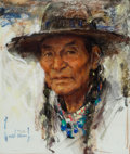 Works on Paper, HARLEY BROWN (American, b. 1939). Grand Elder, Powderface. Pastel on paper. 18 x 15 inches (45.7 x 38.1 cm). Signed and ...