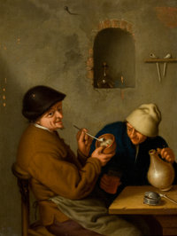 After ADRIAEN VAN OSTADE (Dutch, 1610-1685) Peasant Courting an Elderly Woman and The Smoker (a pair)