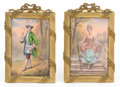 Decorative Arts, French:Other , A PAIR OF FRENCH ENAMEL FRAMED PLAQUES IN GILT METAL FRAMES . Makerunidentified, probably Paris, France, circa 1900. Sign... (Total: 2Items)