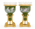 Decorative Arts, French:Other , A PAIR OF CONTINENTAL ENAMELED GILT BRONZE URNS WITH GLASS LINERS .Unidentified maker, possibly French, circa 1900. Marks: ... (Total:4 Items)