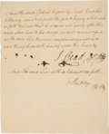 "Autographs:Statesmen, Edward Rutledge Document Signed. One page, docketed on verso, 6"" x 7.5"", n.p. [Charleston, SC], July 1, 1777. ..."