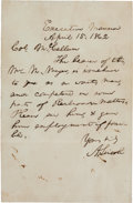 Autographs:U.S. Presidents, Abraham Lincoln Autograph Letter Signed as President. ...