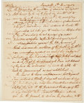 "Autographs:Statesmen, Charles Carroll of Carrollton Autograph Letter Signed. Two pages with integral address leaf, approximately 7.75"" x 9.5"", An..."