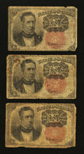 Fractional Currency:Fifth Issue, Three Fifth Issue 10¢ Notes Very Good.. ... (Total: 3 notes)