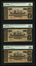 Confederate Notes:1864 Issues, T67 $20 1864. Three Consecutive Examples.. ... (Total: 3 notes)