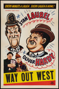 """Movie Posters:Comedy, Laurel and Hardy Stock (Favorite Films, R- Late 1940s). Stock OneSheet (27"""" X 41""""). Comedy.. ..."""