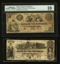 Obsoletes By State:Rhode Island, Providence, RI- Bank of the Republic $2 Aug. 17, 1855; $5 Aug. 13, 1855. ... (Total: 2 notes)