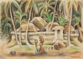 Latin American:Contemporary, MIGUEL COVARRUBIAS (Mexican, 1904-1957). Balinese Scene.Crayon on paper. 7-5/8 x 10-7/8 inches (19.4 x 27.6 cm). Signed...