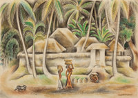 MIGUEL COVARRUBIAS (Mexican, 1904-1957) Balinese Scene Crayon on paper 7-5/8 x 10-7/8 inches (19