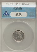 Bust Dimes, 1832 10C --Cleaned--ANACS. XF40 Details. NGC Census: (4/233). PCGSPopulation (17/241). Mintage: 522,500. Numismedia Wsl. Pr...