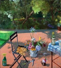 PAUL WONNER (American, 1920-2008) Terrace with Spray Bottle and Garden Gloves (2nd Version), 1996 Ac
