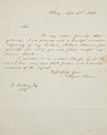 """Autographs:U.S. Presidents, Abigail Fillmore Autograph Letter Signed. One page, 8"""" x 9.75"""",Albany, September 21, 1848. Two years before her husband Mil..."""