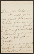 "Autographs:U.S. Presidents, Harriet Lane Johnston Autograph Letter Signed. Three pages, onblack-bordered mourning stationery, approximately 4.25""x 6.75..."
