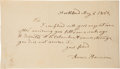 "Autographs:U.S. Presidents, Anna Harrison Autograph Note Signed. One page, 7.5"" x 4.25"",""North Bend,"" May 5, 1852. ..."
