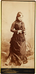 """Autographs:U.S. Presidents, Lucy Hayes Cabinet Card Signed """"Lucy W. Hayes."""" 4"""" x 8.25"""". In this stunning image, the first lady stands as she looks a..."""
