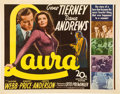 "Movie Posters:Film Noir, Laura (20th Century Fox, 1944). Half Sheet (22"" X 28"").. ..."