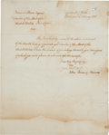 """Autographs:U.S. Presidents, John Quincy Adams Letter Signed as Secretary of State. One pagewith integral blank, 8"""" x 10"""", """"Department of State /Wash..."""
