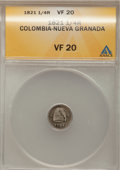 Colombia, Colombia: Cundinamarca 1/4 Real 1821 w/o Ba,...