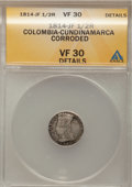 Colombia, Colombia: LIBERTAD AMERICANA 1/2 Real 1814-JF,...