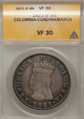 Colombia, Colombia: Cundinamarca 8 Reales 1821-JF,...
