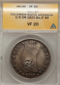 Colombia, Colombia: Cundinamarca 8 Reales c/m 1821-Ba-JF,...