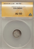 Colombia, Colombia: Republic 1/2 Real 1834-B-RS,...
