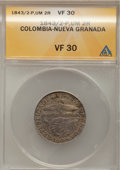 Colombia, Colombia: Popayan 2 Reales 1843/2-UM,...