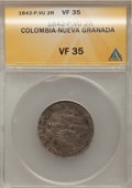 Colombia, Colombia: Popayan 2 Reales 1842-VU,...