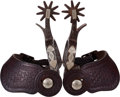 Western Expansion:Cowboy, Rare Kelly Brothers Single Mounted No. 14 Pattern Spurs, Circa1930s.... (Total: 2 Items)
