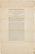 Autographs:U.S. Presidents, Thomas Jefferson Printed Act of Congress Signed...