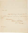 "Autographs:Statesmen, Thomas Pinckney Autograph Letter Signed as US Ambassador to GreatBritain. One page with integral address leaf, 7.75""x 9.25""..."
