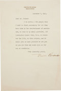 Autographs:U.S. Presidents, Eleanor Roosevelt Typed Letter Signed as First Lady and Al Jolson Autograph Letter Signed. One page, on White House letterhe...