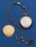 Timepieces:Pocket (post 1900), New York Standard Crown With Chain Pocket Watch. ...