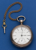 Timepieces:Pocket (pre 1900) , Elgin 18 Size Coin Silver Key Wind Pocket Watch. ...