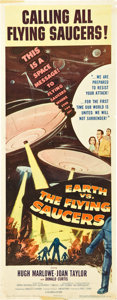"""Movie Posters:Science Fiction, Earth vs. the Flying Saucers (Columbia, 1956). Insert (14"""" X 36"""")....."""