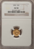 Gold Dollars: , 1852 G$1 AU58 NGC. NGC Census: (440/2749). PCGS Population(377/1311). Mintage: 2,045,351. Numismedia Wsl. Price for proble...