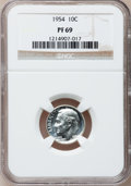 Proof Roosevelt Dimes: , 1954 10C PR69 NGC. NGC Census: (26/0). PCGS Population (1/0).Mintage: 233,300. Numismedia Wsl. Price for problem free NGC/...