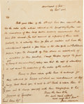 "Autographs:U.S. Presidents, James Madison Autograph Letter Signed as Secretary of State. Onepage, 7.75"" x 9.75"", ""Department of State,"" Septemb..."