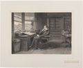 Autographs:Authors, [Charles Dickens]. Samuel Hollyer. Large Proof Engraving of Charles Dickens in His Gad's Hill Study. Executed circa 1875, th...