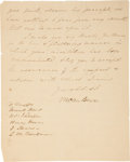 "Autographs:U.S. Presidents, Martin Van Buren Letter Signed as Vice President. Two pages, 8""x10"", Washington, April 11, 1835. ..."
