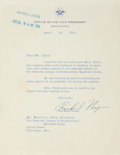 "Autographs:U.S. Presidents, Richard Nixon Typed Letter Signed as Vice President. One page, onthe Vice President's embossed letterhead, 7"" x 9"", Washing..."