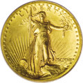 High Relief Double Eagles: , 1907 $20 High Relief, Wire Rim MS63 PCGS. Sharply defined throughout all areas of the obverse and reverse, this splendid Hi...