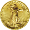 High Relief Double Eagles: , 1907 $20 High Relief, Wire Rim MS64 NGC. A pleasing near-Gem of this legendary gold type. The strike is full except for a h...