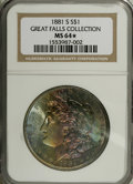 Morgan Dollars: , 1881-S $1 MS64 ★ NGC, all three of these near-Gem with Star coinsare from the Great Falls C... (Total: 3 Coins)