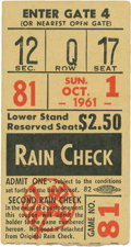 Baseball Collectibles:Tickets, 1961 Roger Maris Sixty-First Home Run Ticket Stub....