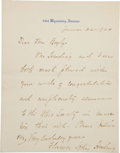 "Autographs:U.S. Presidents, Florence Kling Harding Autograph Letter Signed. One page withattached integral blank, 5.5"" x 6.75"", ""2314 WyomingAvenue..."
